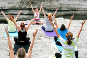 Yoga breathing exercises for adult asthma.